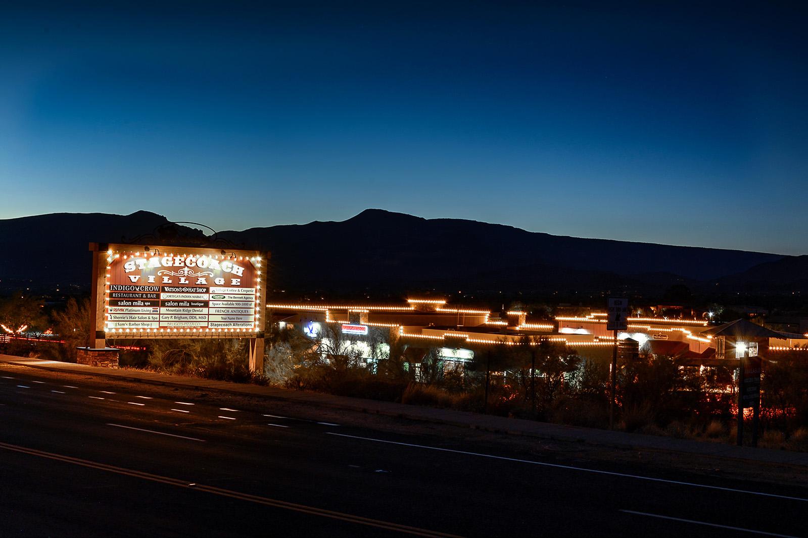 stagecoach village at night